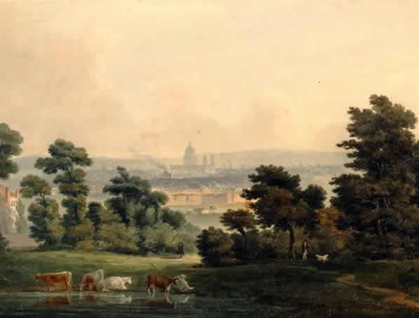 Looking to London from Hampstead Hill, attributed to James Paine II (date unknown,         The British Museum, 1880,1113.5578)