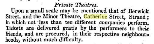 Theatres like The Minor often challenged class, tastes, and legalities (the         above clipping from A Picture of London for 1818 (19th edition)