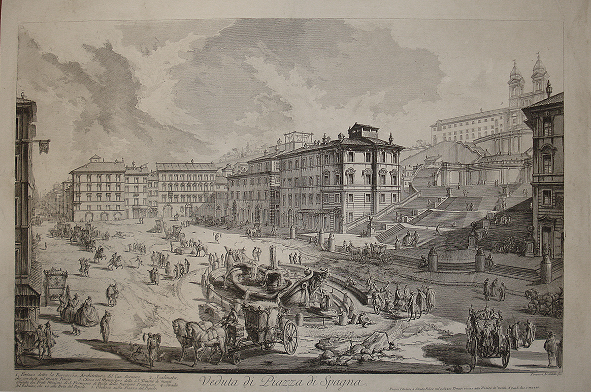 View of the Spanish Steps, 1750, by Giovanni-Battista Piranesi (Keats occupied the building, far right, foreground)