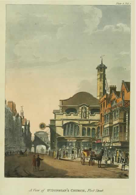 A View of St. Dunstan's Church, Fleet Street, c.1812