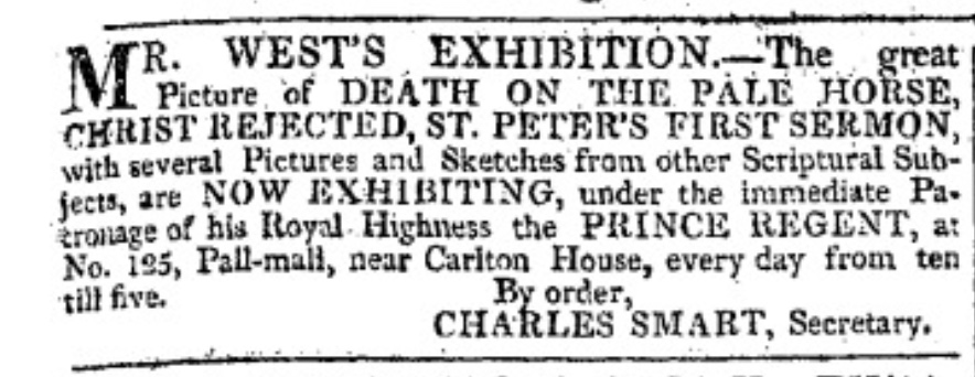 Ad for Mr. West's Exhibition, Morning Chronicle. Click to         enlarge.