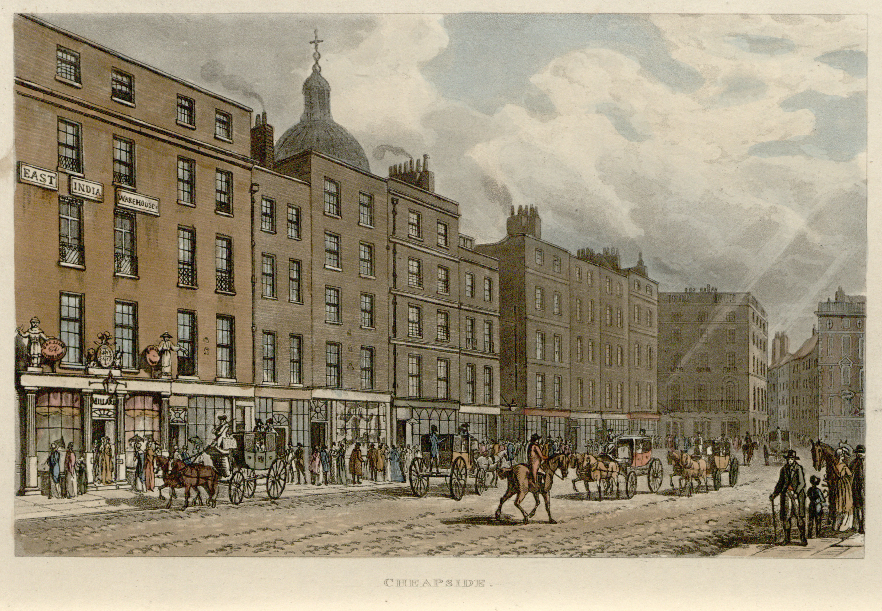 Cheapside, from Select Views of London, published by Rudolf Ackermann, 1816. Click to enlarge.