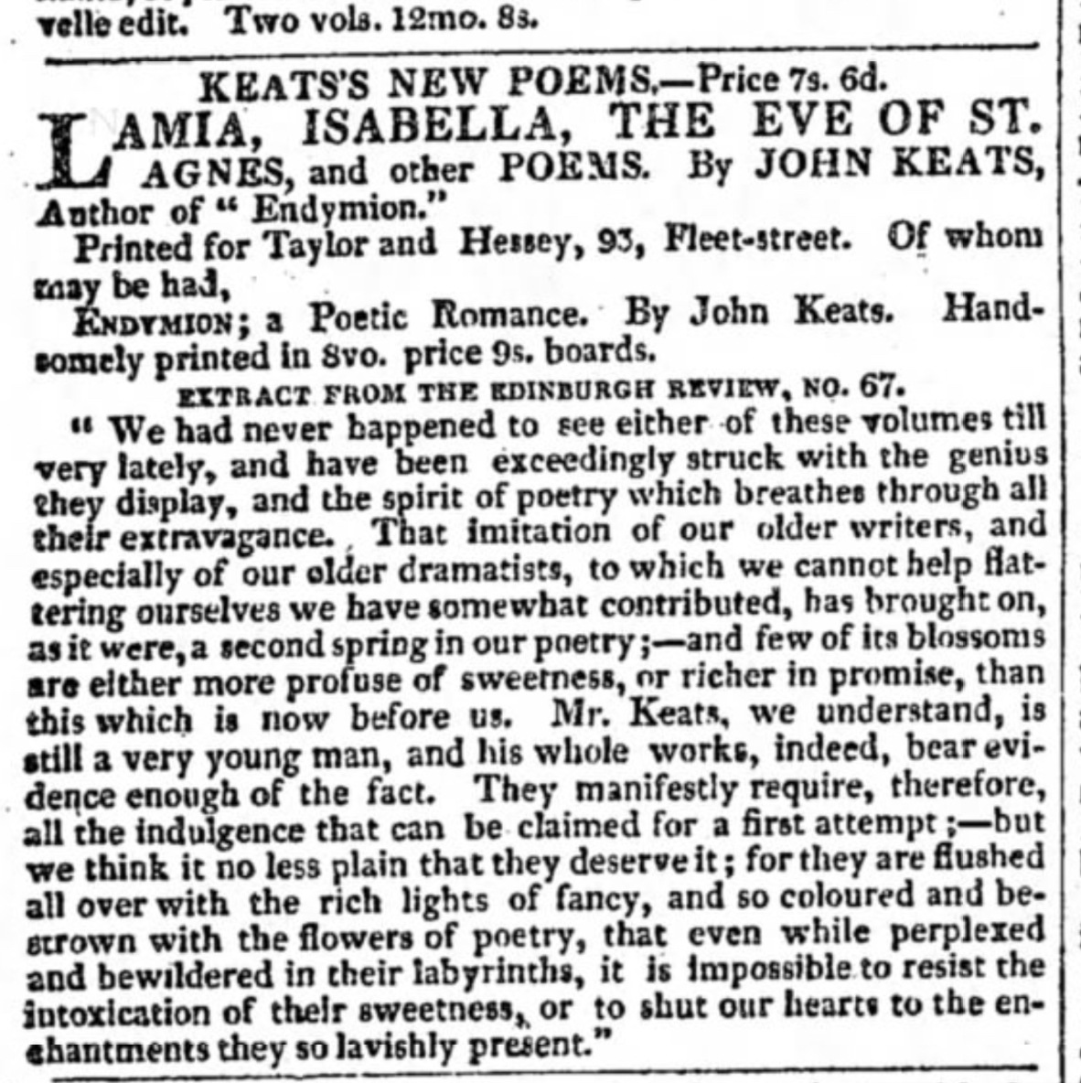 Keats's New Poems, advertised in The Morning           Chronicle, 28 Feb 1821, unaware of Keats's death