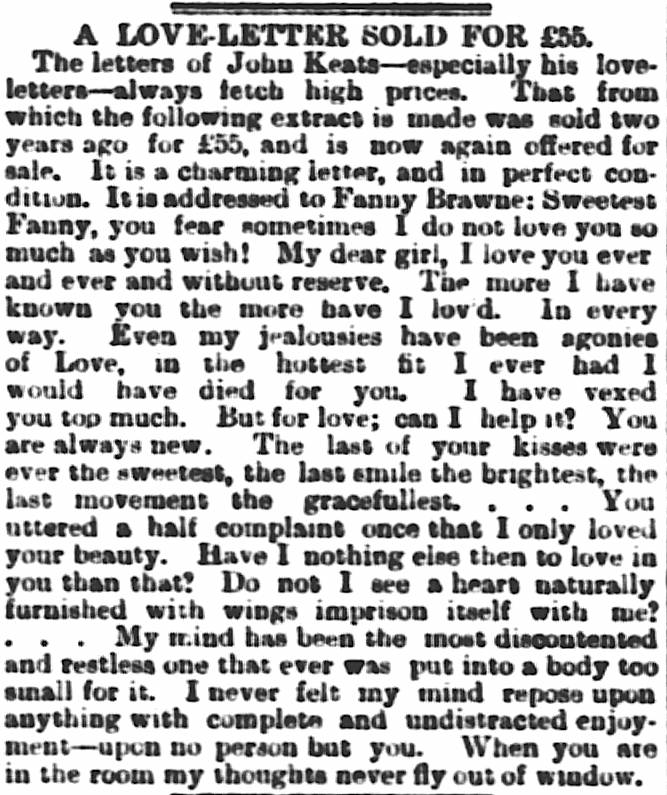 The Sale of a Love-Letter, Edinburgh Evening News, 21 Nov. 1891. Click         to enlarge.