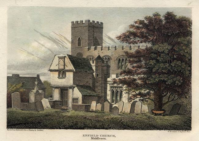 Enfield Church, 1813. Click to enlarge.