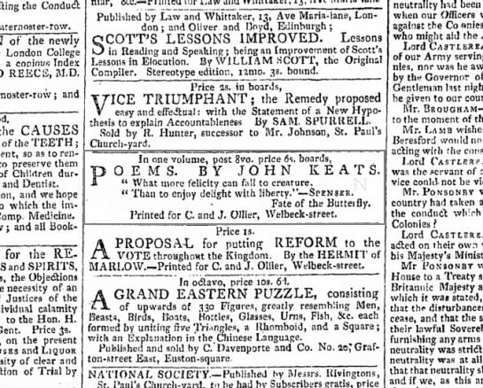 Ad for Keats's 1817 collection in The Morning Chronicle, 20 March 1817