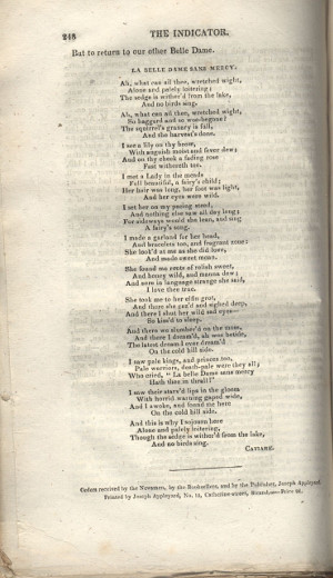First publication of La Belle Dame sans Merci, Indicator, 10 May 1820, p.248