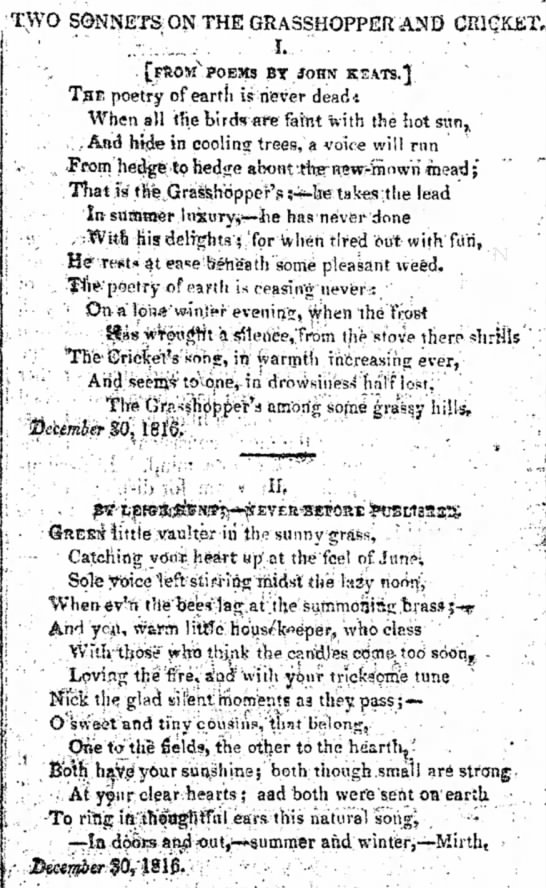 Publication of the Grasshopper and Cricket sonnets by Keats and Hunt, in The         Examiner, 21 September 1817. Click to enlarge.