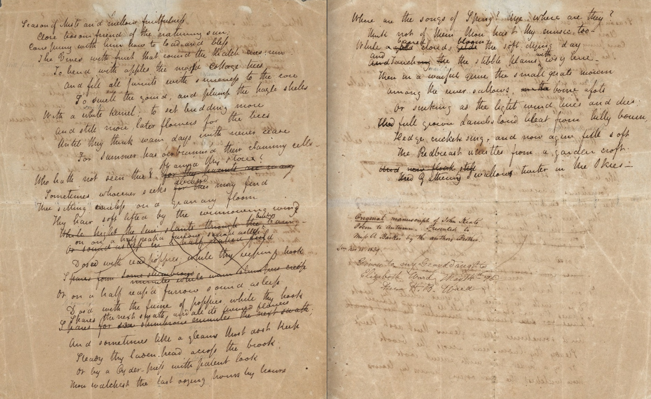 Manuscript of Keats's To Autumn, Houghton Library, Harvard University (MS         Keats 2.27). Click to expand.