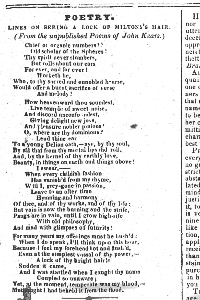 First publication of Lines on Seeing a Lock of Milton's           Hair, in The Plymouth and Devonport Weekly           Journal, 15 November 1838. My thanks to the Plymouth Central Library for generously         creating this image for MKP. Click to enlarge.