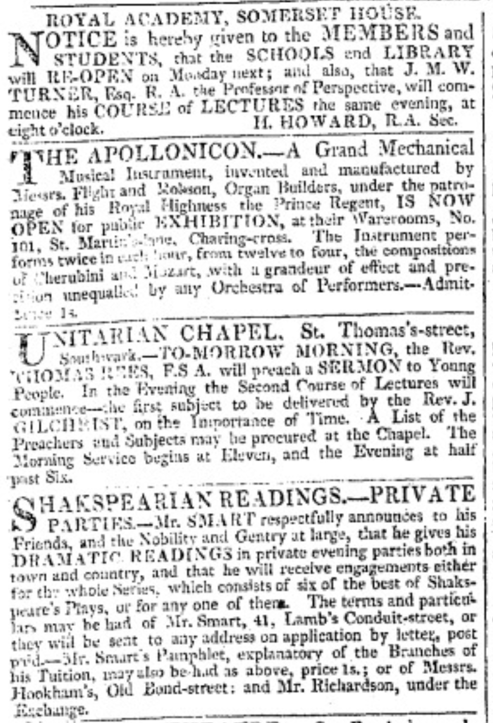 Sampling from page one of The Morning         Chronicle, on this day, 3 January 1818. Click to enlarge.
