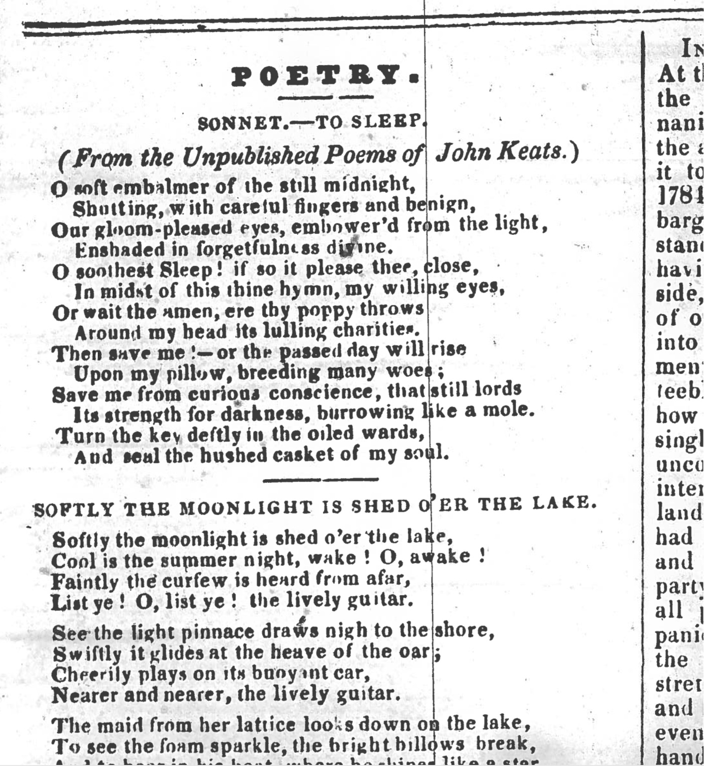 First publication of Sonnet to Sleep, in The Plymouth and         Devonport Weekly Journal, 11 October 1838. My thanks to the Plymouth Central Library for         generously making and providing this image.