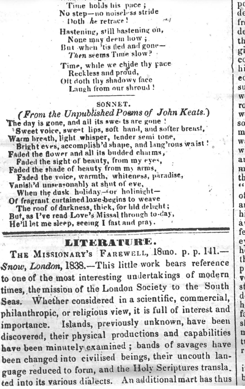 First publication of The day is gone in The Plymouth and Devonport Weekly Journal, 4 October 1838. My         thanks to the Plymouth Central Library for generously making and providing this         image.