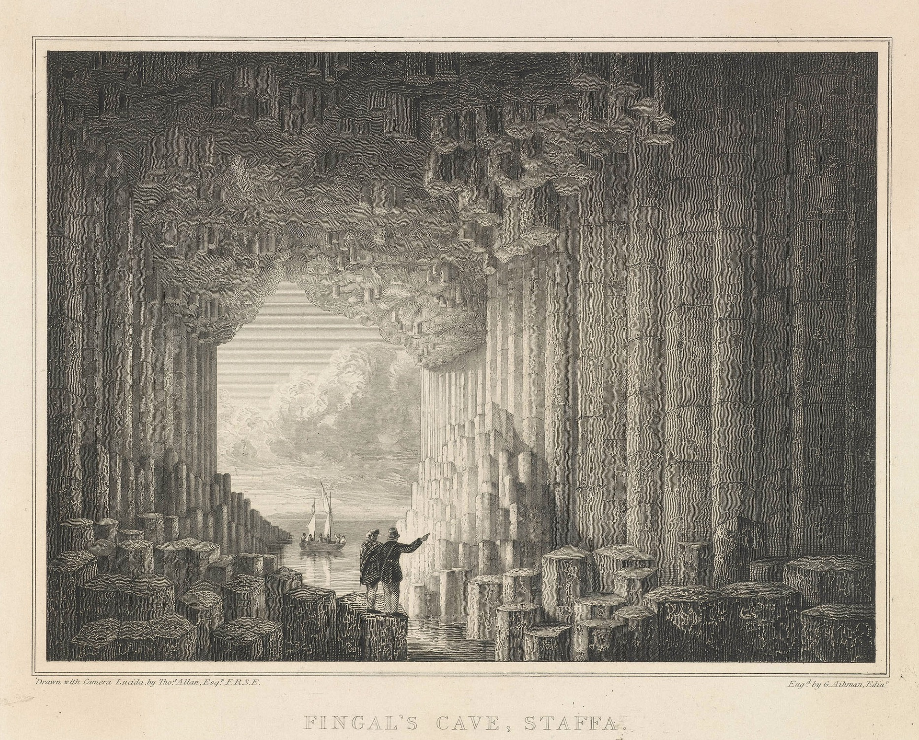 Fingal's Cave, Staffa Island, 1800 (after T. Allen; G. Aikman, engraver), Royal         Collection Trust (RCIN 702658)