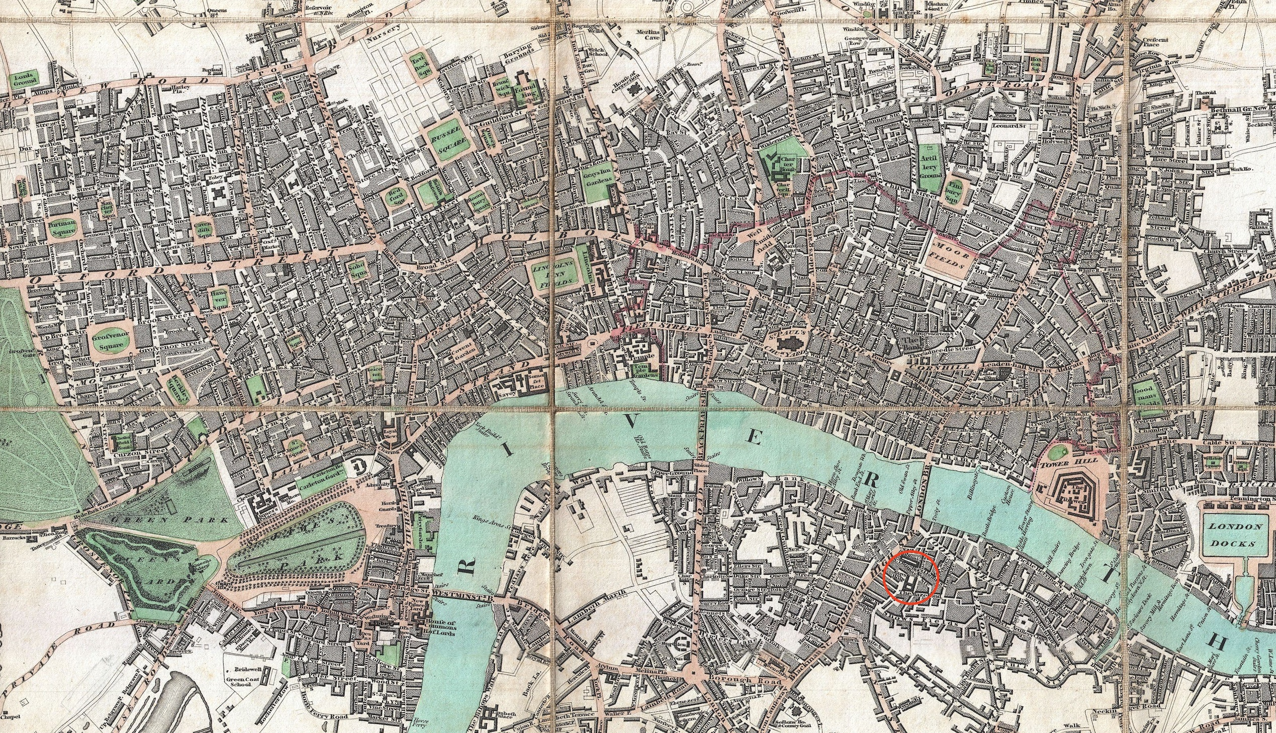 Guy's Hospital area within the greater London area (Edward Mogg, 1806 map).         Click to enlarge.