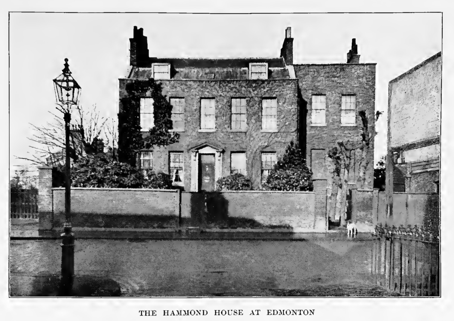 Hammond House at Edmonton, from Albert Elmer Hancock's 1908 biography of Keats         (click to enlarge)