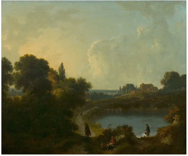 View at Hampstead by Richard Corbould, 1806 (Victoria and Albert Museum 522-1870).         Click to enlarge.
