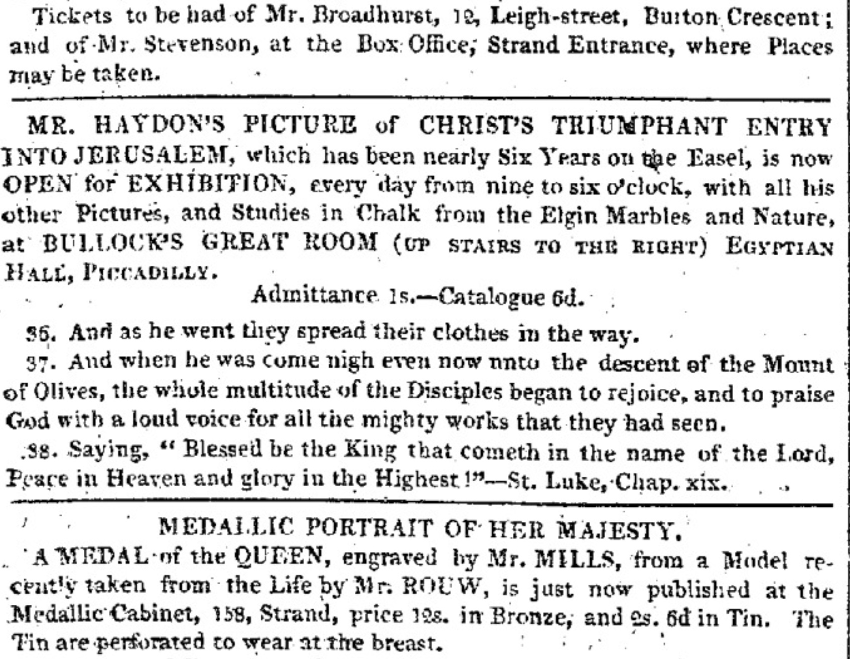 Six Years on the Easel: Haydon's Christ's Triumphant           Entry into Jerusalem,         The Examiner, 1 Oct 1820 (click to enlarge)