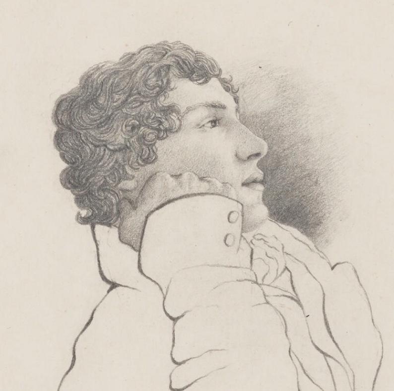 Perhaps the most naturalistic portrait of Keats: the 1819 pencil sketch by his       close friend, Charles Brown (National Portrait Gallery NPG 1963). Click to enlarge.