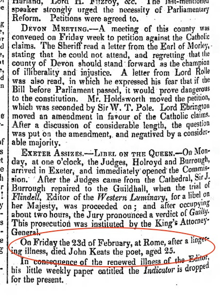 Notice of Keats's death, after a lingering illness, in The Examiner, 25 March 1821