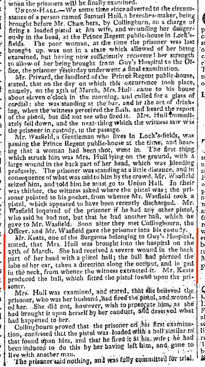 A Certain Mr. Keats removes a pistol ball, in The Morning Chronicle, 23 April 1816*