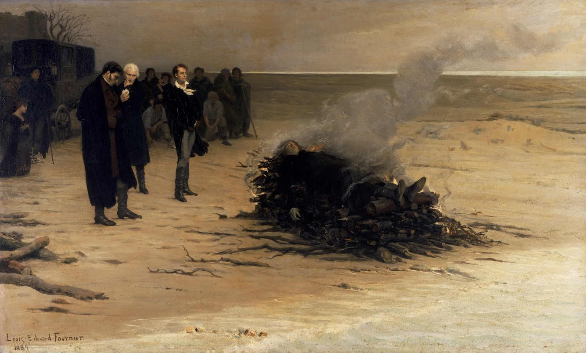 A highly fictionalized depiction of Shelley's cremation, by Louis Édouard         Fournier, 1889 (Walker Art Gallery, Liverpool). Click to enlarge.