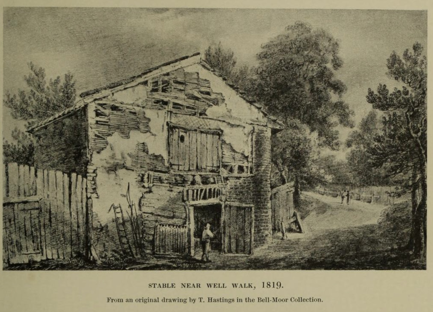 Stable Near Well Walk, 1819. Click to enlarge.