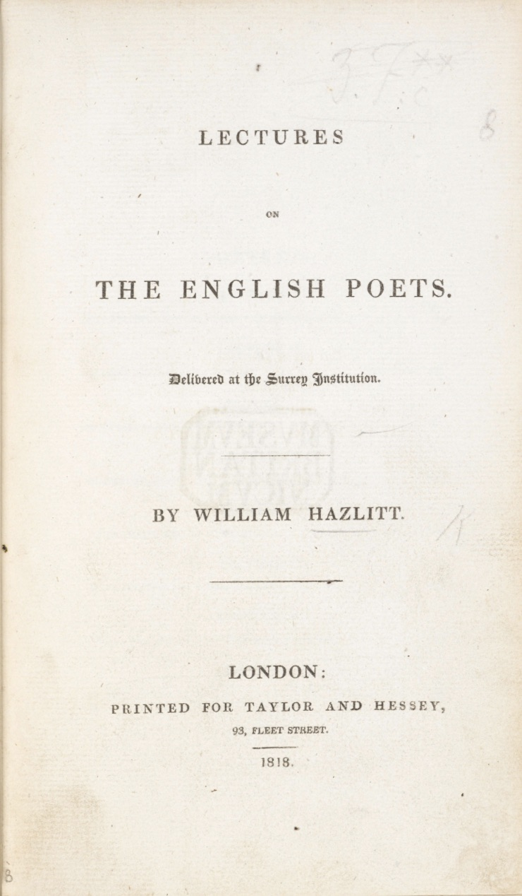 Title page, Hazlitt's Lectures, 1818. Click to enlarge.