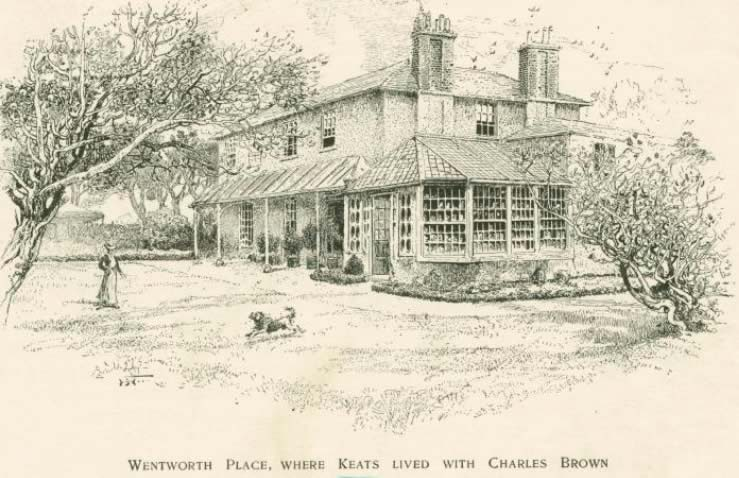 Wentworth Place, where Keats lived with Charles Brown