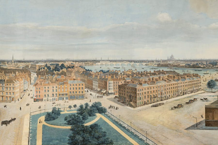 Portion of a panoramic view of London, from St Margaret's Church, Westminster,         c.1815, Pierre Prévost (Museum of London). Click to enlarge.