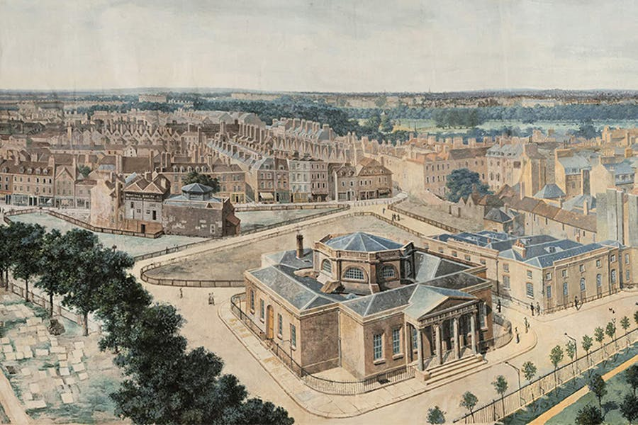 A portion of a panoramic view of London, from St Margaret's Church, Westminster,         c.1815, Pierre Prévost (Museum of London). Click to enlarge.