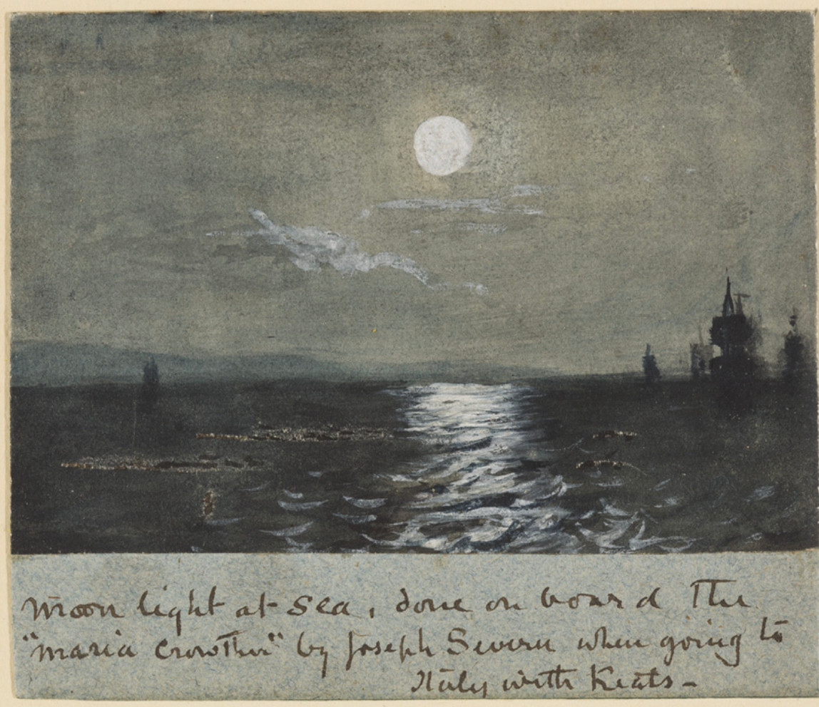 Moonlight at sea. by Joseph Severn, 1820, done on         board the Maria Crowther. Image courtesy of Keats House, City of London Corporation         (K/PZ/02/001). Click to enlarge.