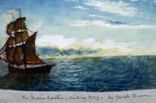 The Maria Crowther, Sailing Brig, by Joseph Severn, 1820. Water colour.           Image courtesy of Keats House, City of London Corporation (K/PZ/02/002). Click to enlarge.