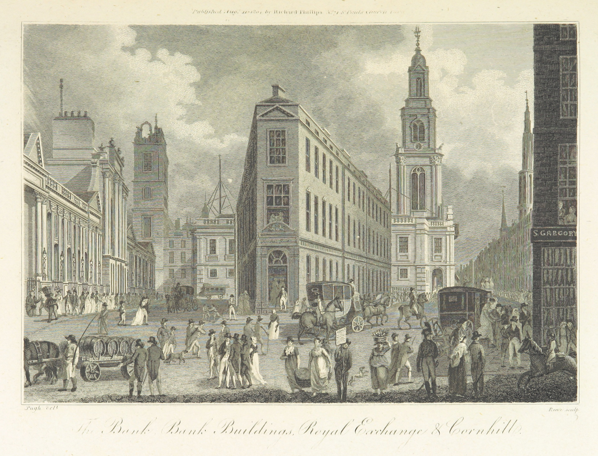 The Bank Buildings and Royal Exchange,1804. Click to enlarge.