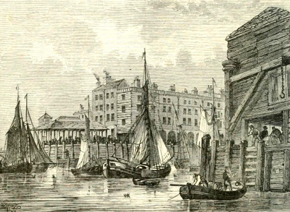 Billingsgate Dock, 1820, courtesy of London Bridge Museum & Educational Trust.         Click to enlarge.