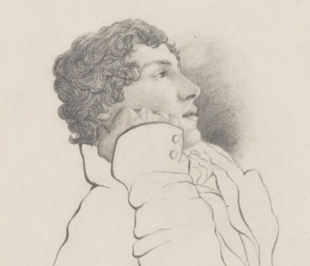While on the Isle of Wight, Keats and Brown do some pencil sketching. This is Brown's wonderful sketch of Keats. National Portrait Gallery (NPG 1963). Click to enlarge.