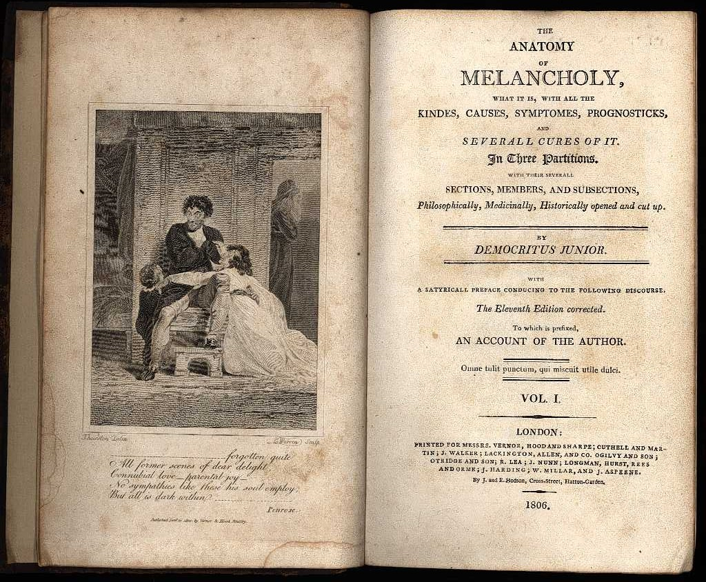 Robert Burton's Anatomy of Melancholy (Eleventh         Edition, 1806)