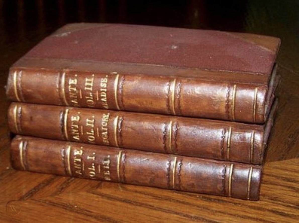 Cary's tiny 3-volume of Dante that Keats takes with him on the northern trip. Click to enlarge.