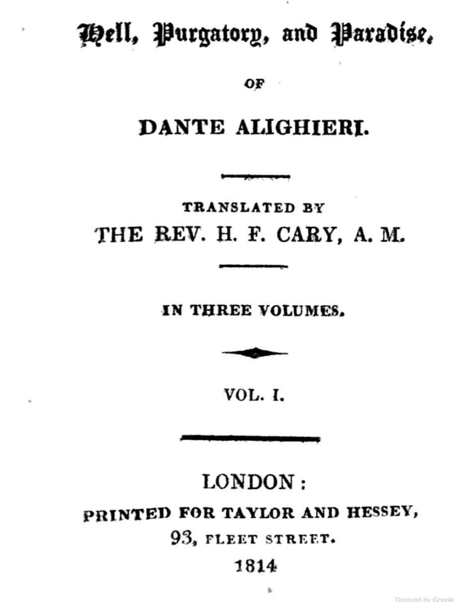 Title page of Cary's 1814 3-volume of Dante. Click to enlarge.