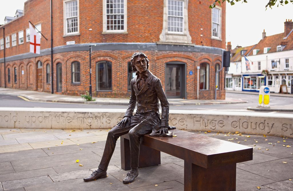 *Statue of Keats by Vincent Gray at Chichester, Eastgate Square, installed 2017