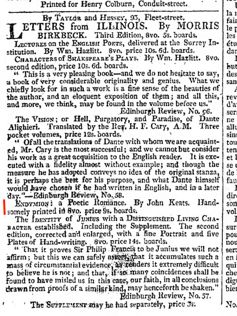 Notice of books published by Taylor & Hessey, including Hazlitt, Dante, and Keats's Endymion, in The Morning Chronicle, 30 October 1818. (Click image to enlarge.)