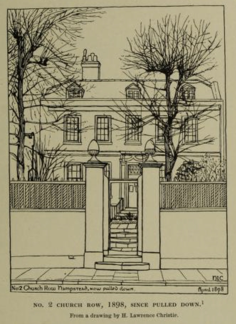 No. 2 Church Road , 1898, Hampstead (now pulled down). My thanks to Kenneth Page         of Keats House, London, for drawing my attention to this image from Thomas J. Barratt's           Annals of Hampstead (1912). Click to enlarge.