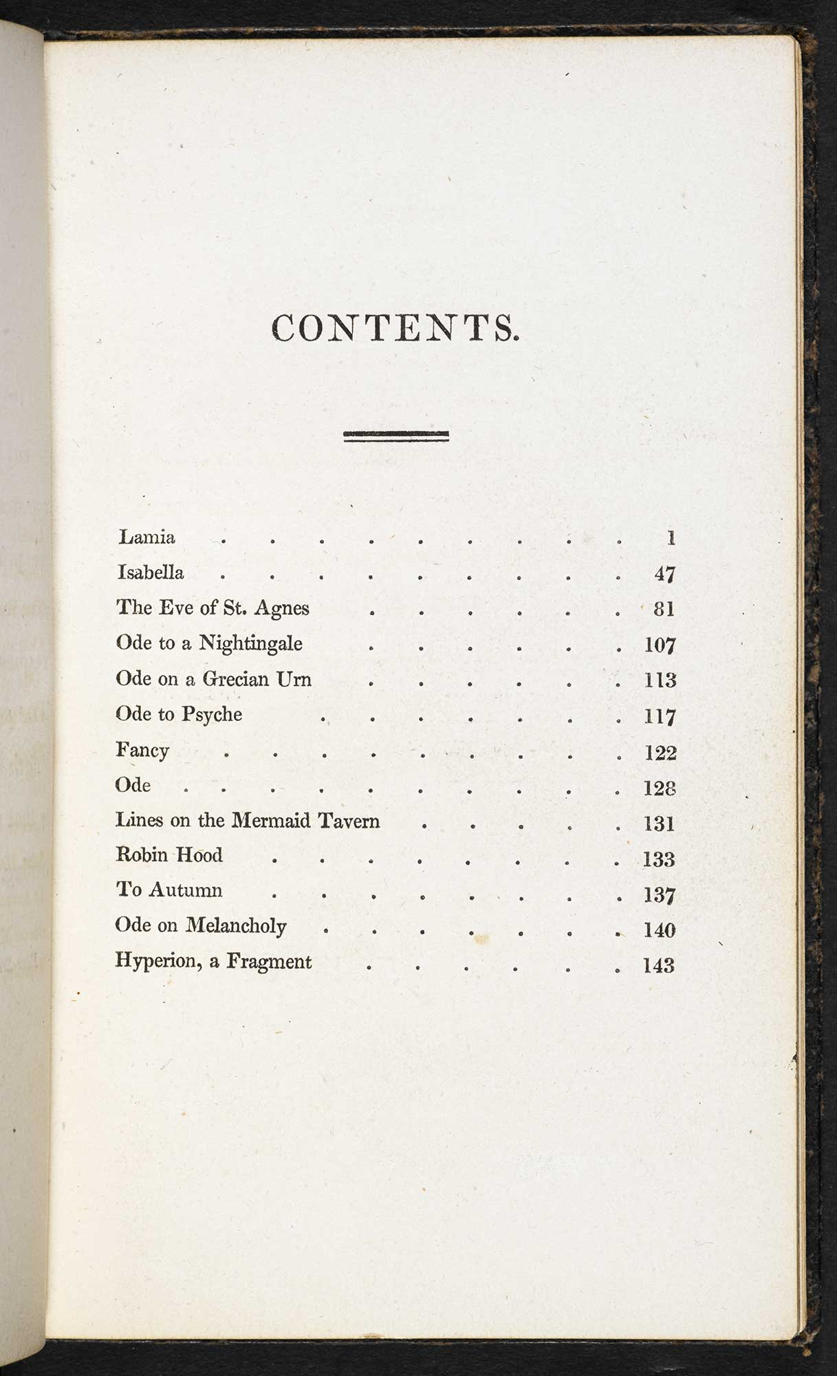 Contents page for Keats's 1820 collection. Click to enlarge.