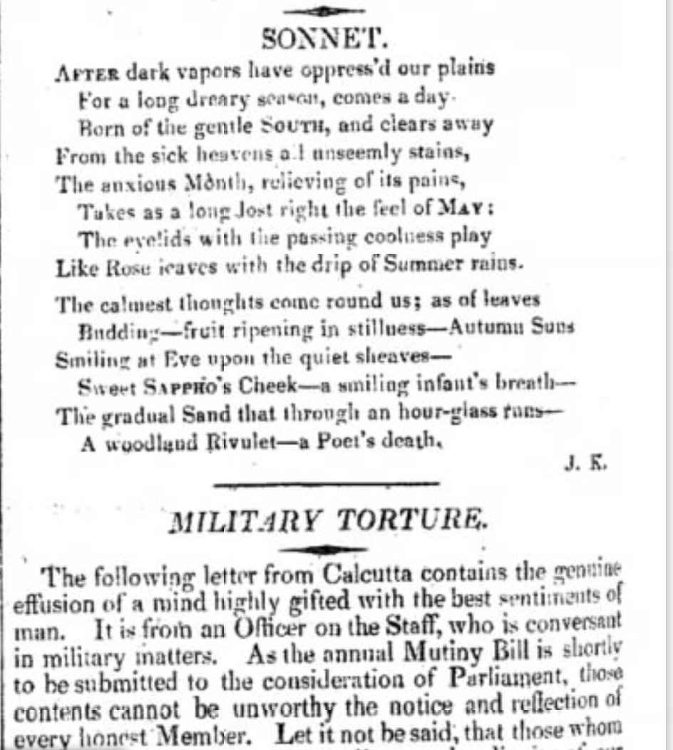 "The first publication of ""After dark vapours"" in The Examiner for 23 February, 1817, p.12."