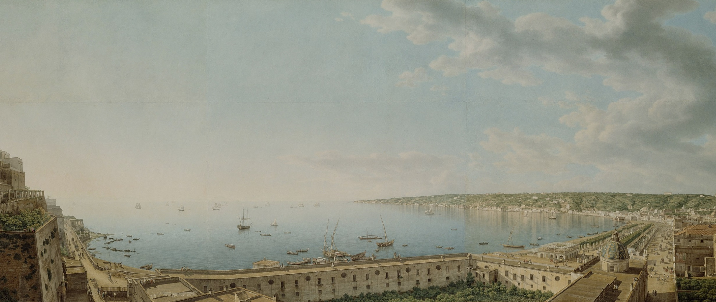 The Bay of Naples by Giovanni Battista Lusier, 1791 (Getty Museum). Keats felt too         ill to give an account of its beauty.