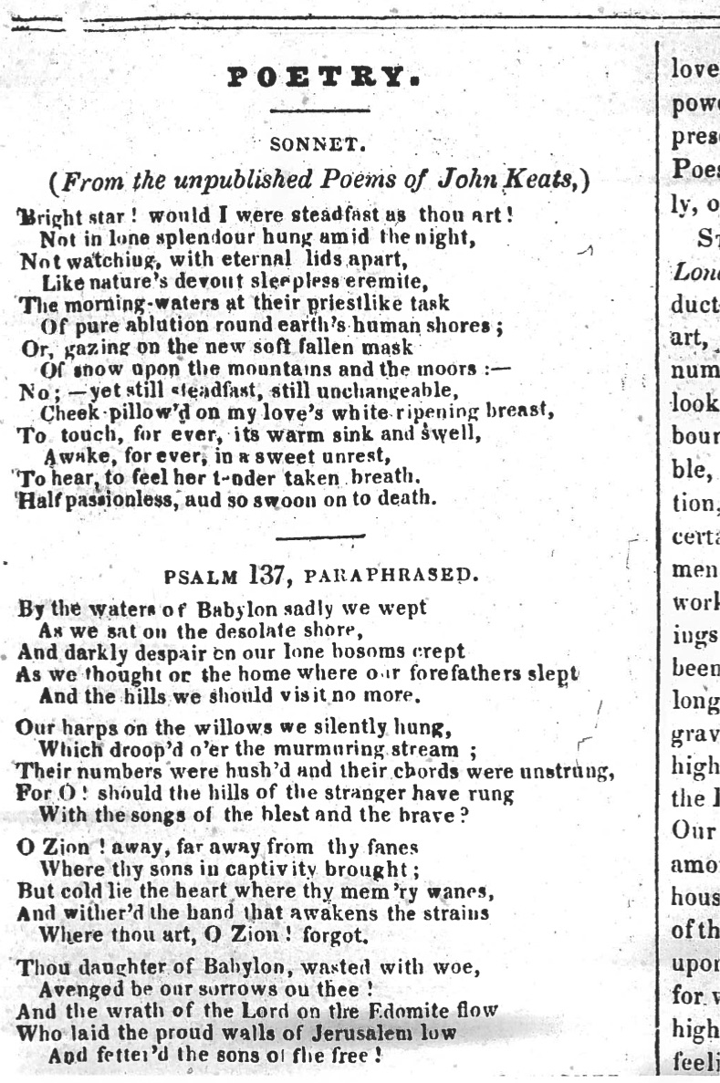 First publication of Bright Star, in The Plymouth and Devonport Weekly          Journal, 27 September 1838. My thanks to the Plymouth Central Library for          generously supplying this image.