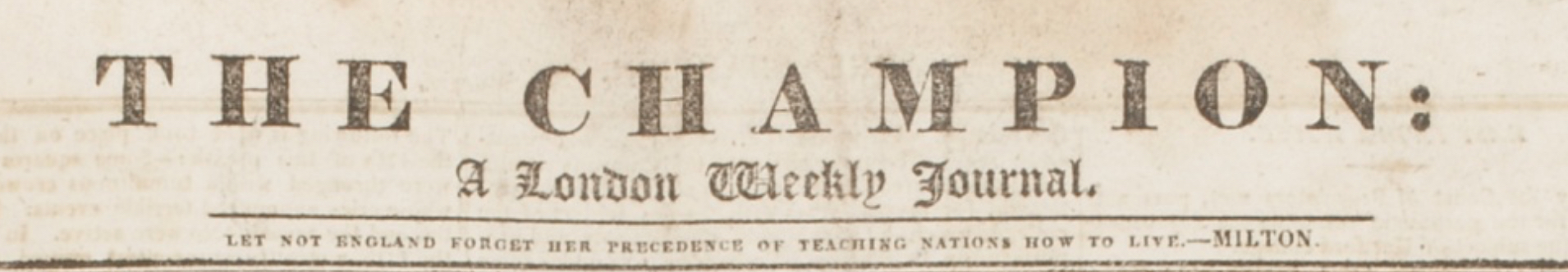 Masthead of The Champion, 1817