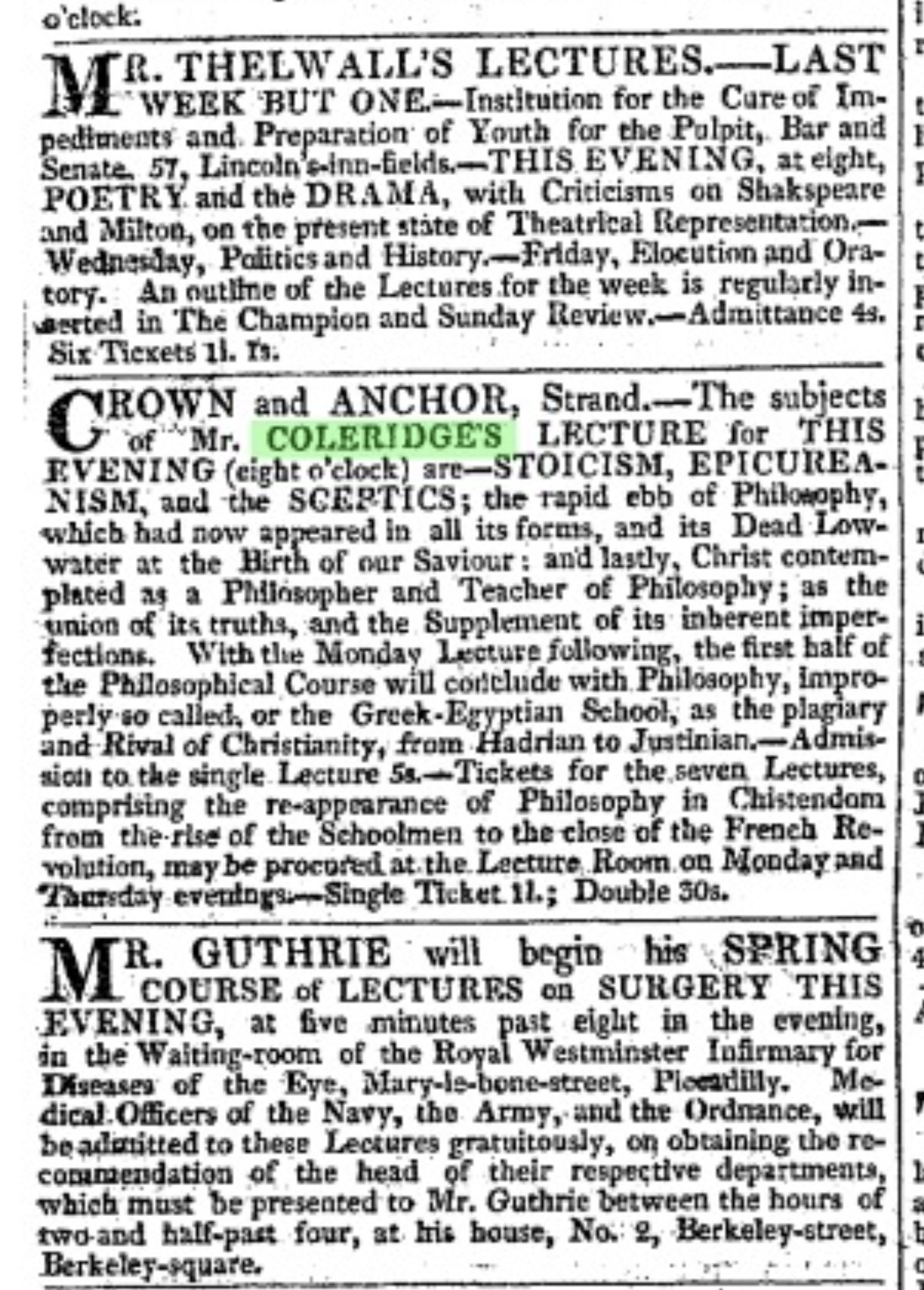 *Coleridge's lecture (on just about everything) advertised in The Morning Chronicle, 25 January 1821. Keats might have got         some of this on his walk with Coleridge. (Click image to enlarge.)