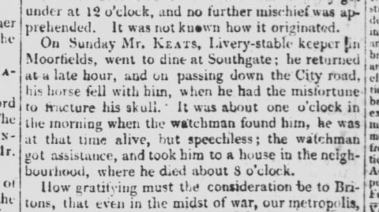 Notice of the death of Thomas Keats, in The Times, 17 April 1804