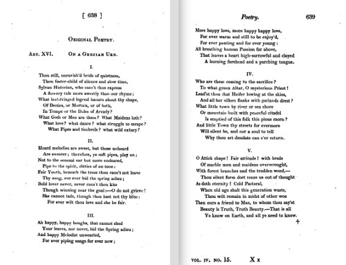 First publication of Ode on a Grecian Urn, in Annals of the Fine Arts, Jan 1820, IV, No.15, pp.638-39.         (Click image to enlarge.)